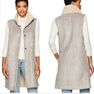 Dylan Faux Fur Gray Shearling Long Snap Vest XS